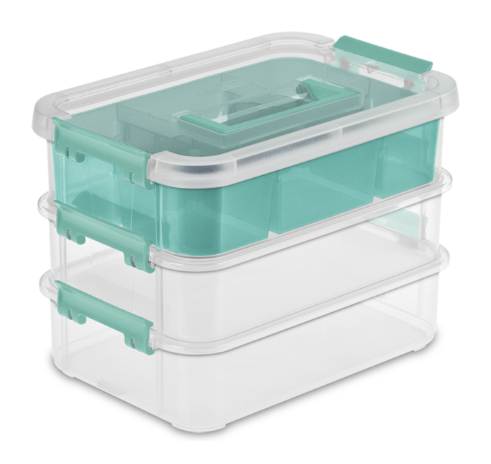 Latches and Tint Tray Sterilite 14138606 Stack /& Carry 3 Layer Handle Box /& Tray Clear Base w// Colored Handle 6-Pack